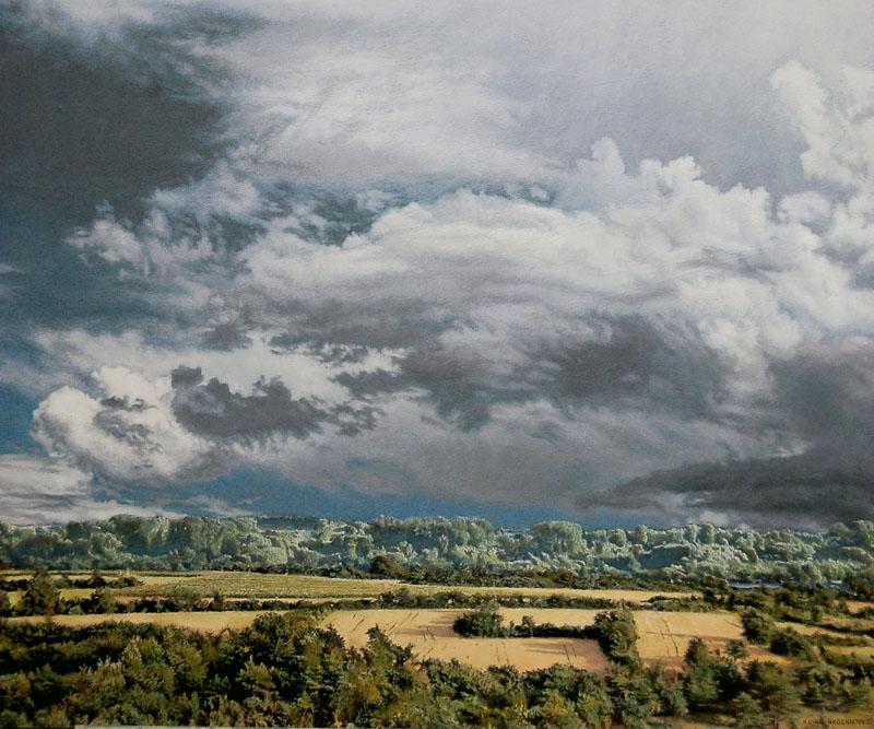 Heike Negenborn: Rheinauen, 2016, Acryl auf Holz