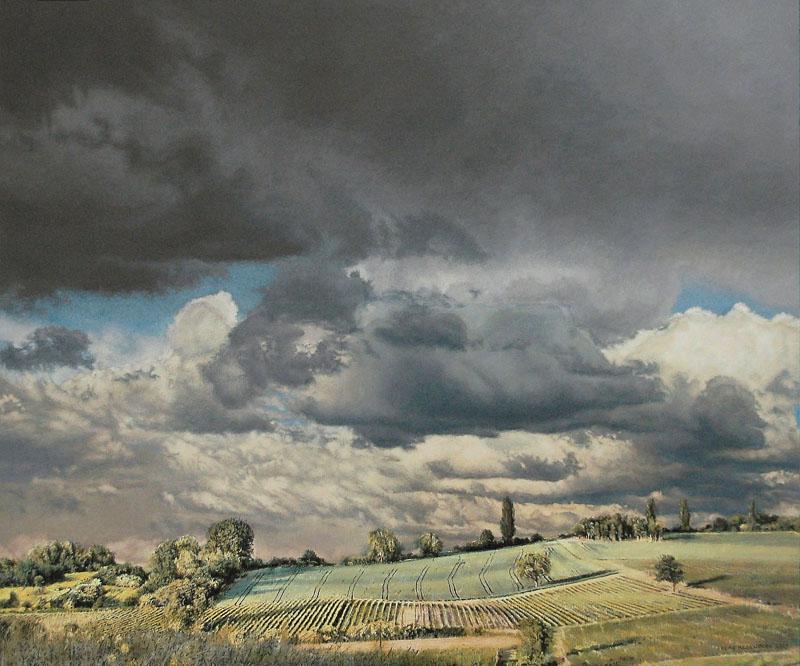 Heike Negenborn: Blick vom Wißberg, 2016, Acryl auf Holz,