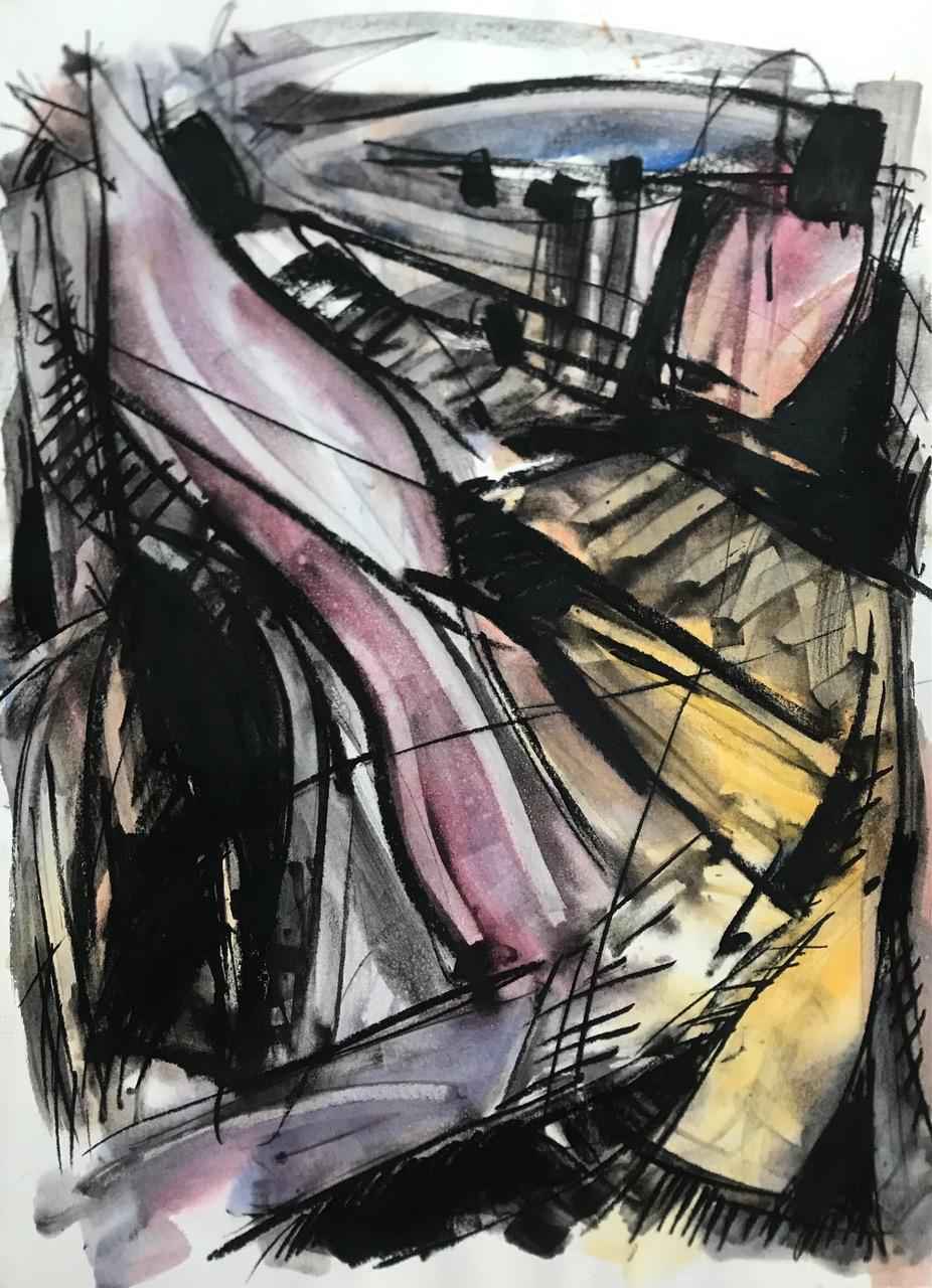 Ute Gortner, Ohne Titel, 1992, 107x76 cm, Aquarell und Kreide auf Büttenpapier