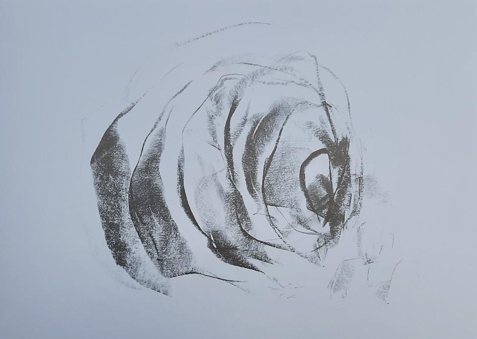 Ute Gortner, Eingehüllt, Zeichnung mit Kreide, 2019